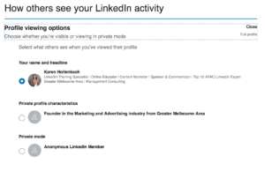 profile viewing options on linkedin